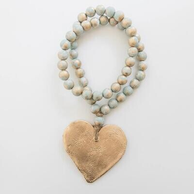 """SS Blessing Bead Long 24"""" Turquoise Heart"""