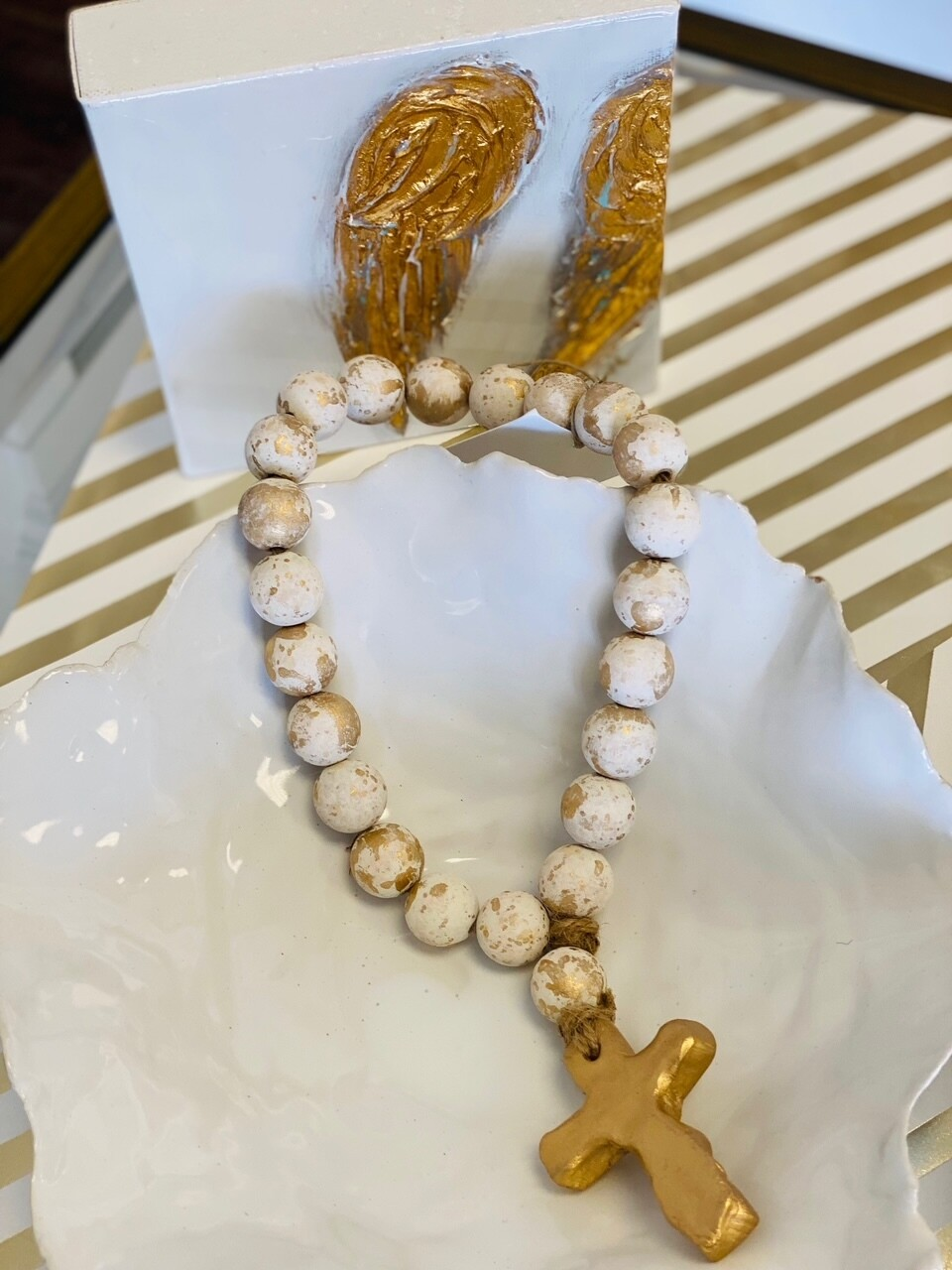 """SS Blessing Bead Small 12"""" Creamy White"""