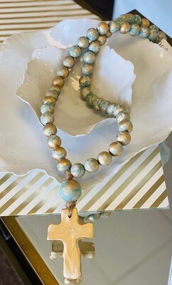 """SS Blessing Bead Large 30"""" Turquoise"""