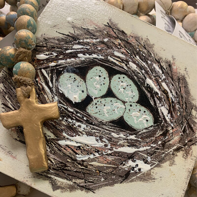 8x8 Nest Wood Picture 5 Eggs