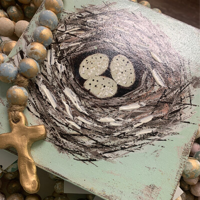 8x8 Nest Wood Picture 3 Egg