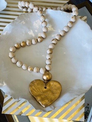 """SS Blessing Bead Large 30"""" Creamy White Heart"""