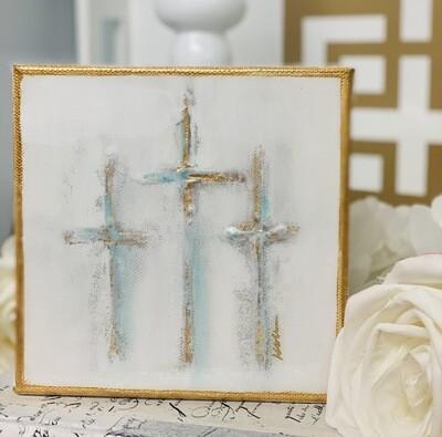 6x6 Painting Three Crosses Gold Trim