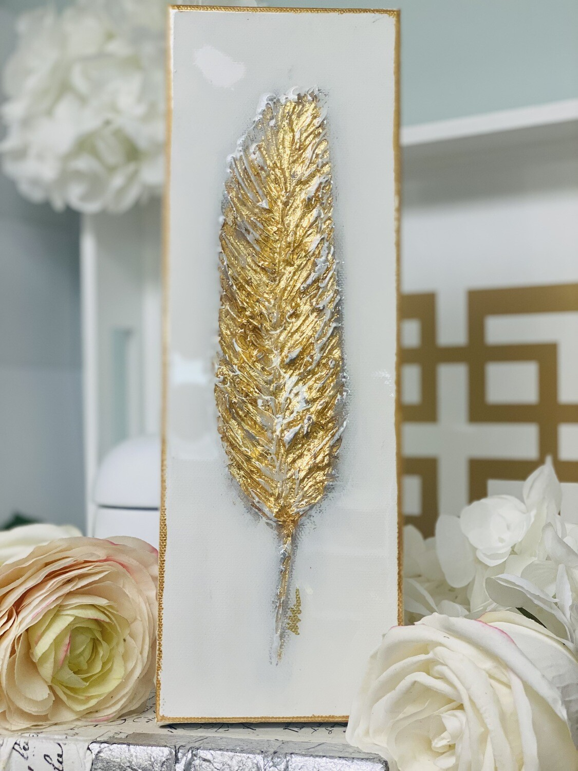 4x12 Gold Feather Painting Gold Trim