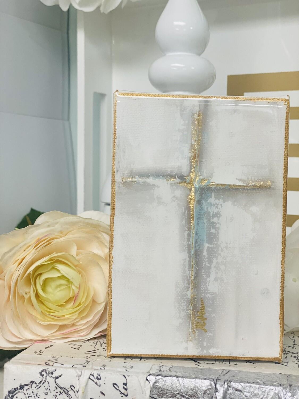 4x6 Cross Painting Gold Trim