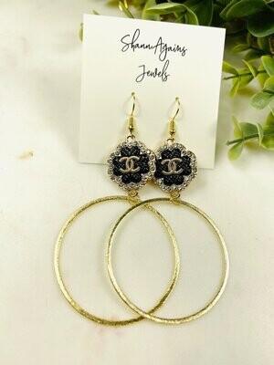 SJ Designer Earrings Button Hoops Black CC