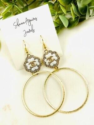 SJ Designer Earrings Button Hoops White CC