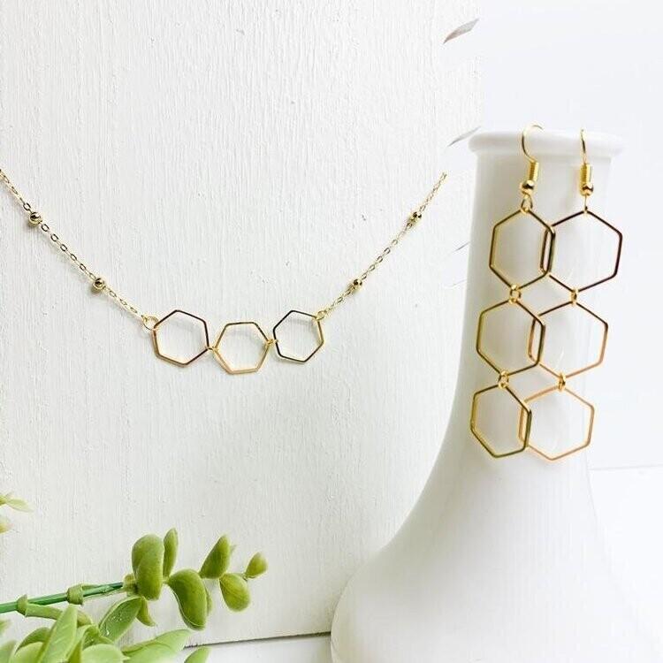 SJ Earrings Long Hexagon