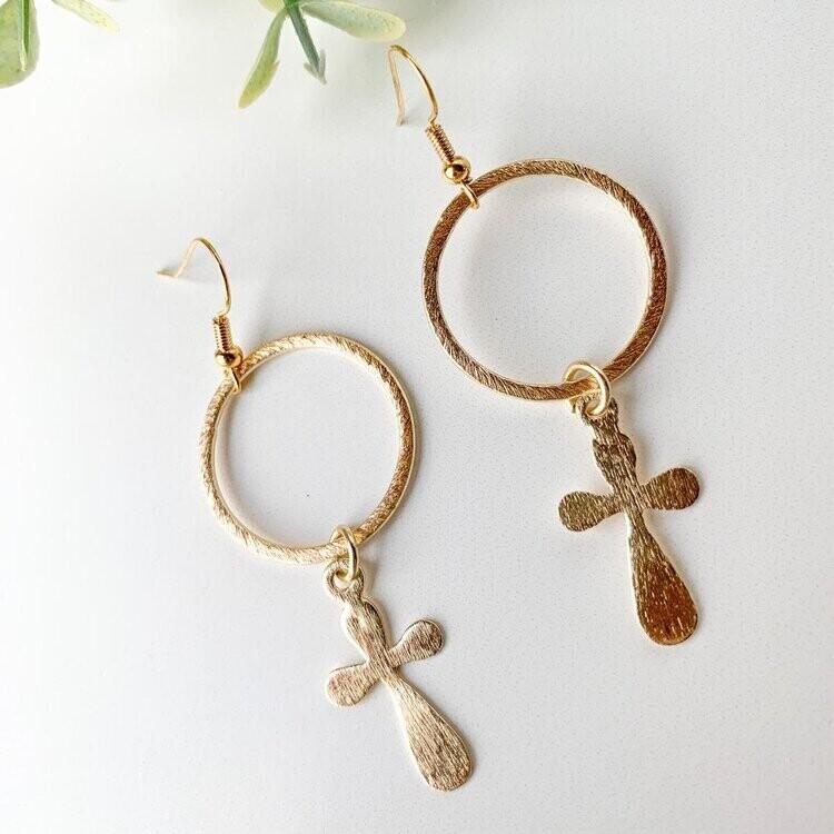 SJ Earrings Gold Cross