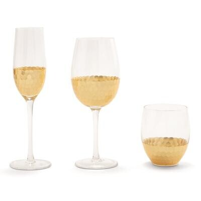 Honeycomb Stemless Wine Glass Gold