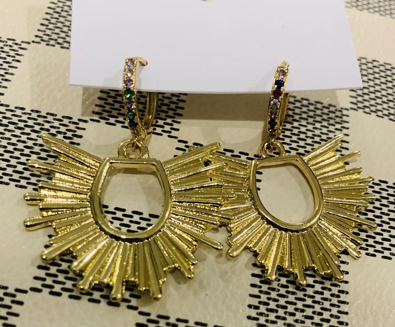 Love AO Earrings Multi Diamond Sunburst