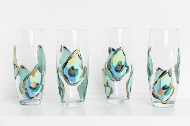 Oyster Stemless Champ Glass Blue