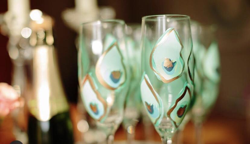 Oyster Stemmed Champ Glass Blue