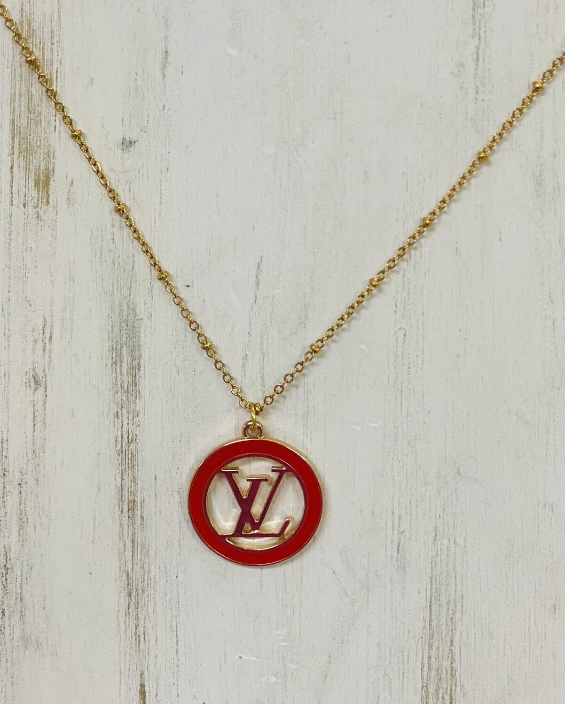 LL Designer Costume Necklace Red Circle LV