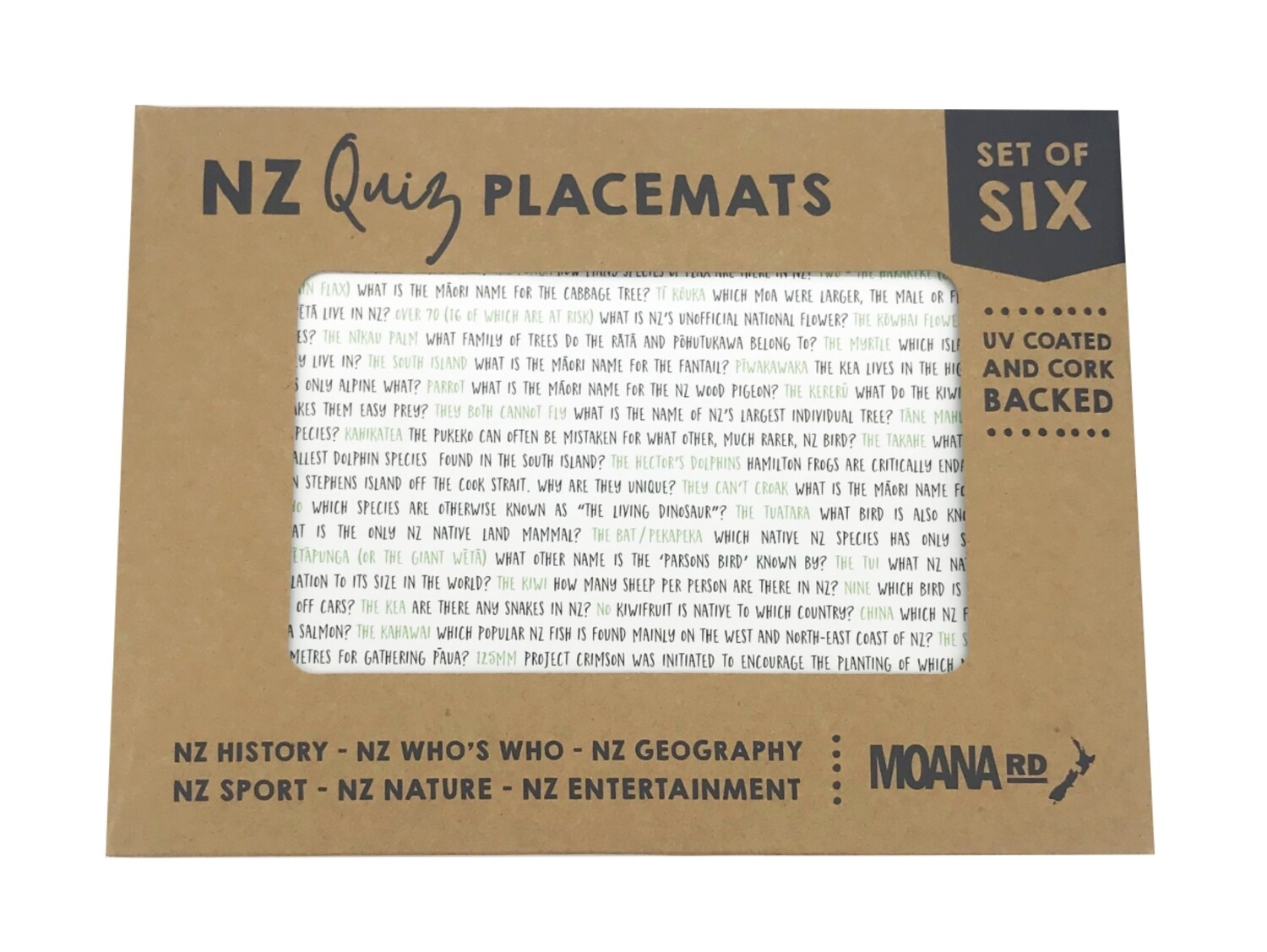 NZ Quiz Placemats