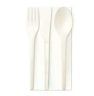 Tris Biodegradabile PLA Bianco (coltello+forchetta+Cucchiaio+tovagliolo)