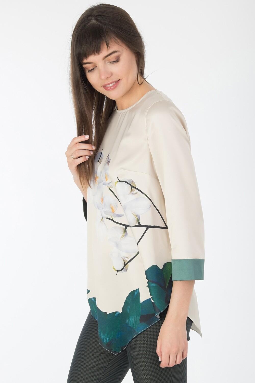 Блузка 1814 шелк-шифон плательн ванильно-бел Орхидея
