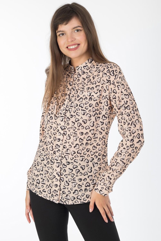 Блузка 1818 креп-шифон абрикосово-черный сердечки