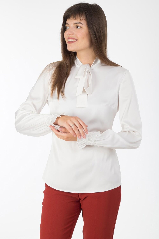 Блузка 1820 шелк-шифон Армани молочный