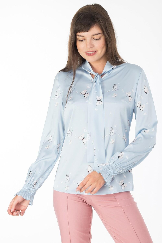 Блузка 1820 шелк-шифон Армани серо-голубой бабочки