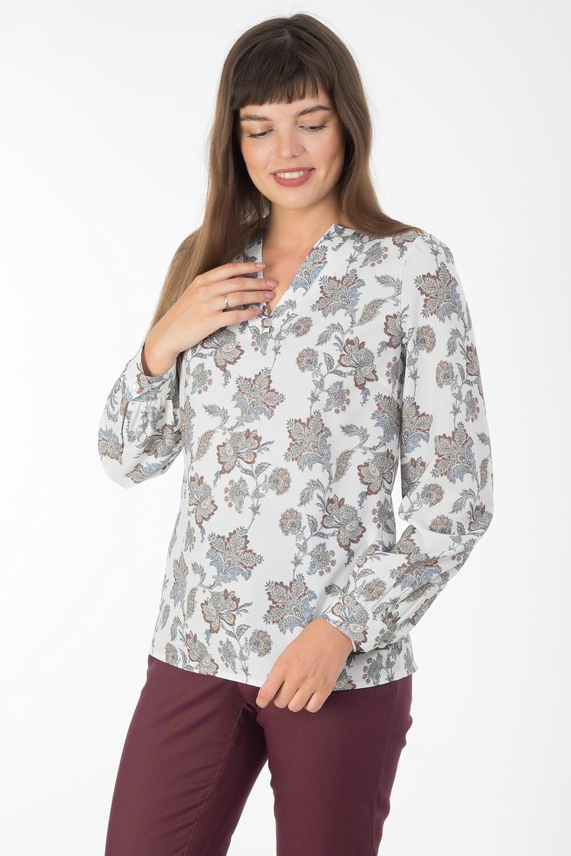Блузка 1823 креп-шифон молочно-серый Садко