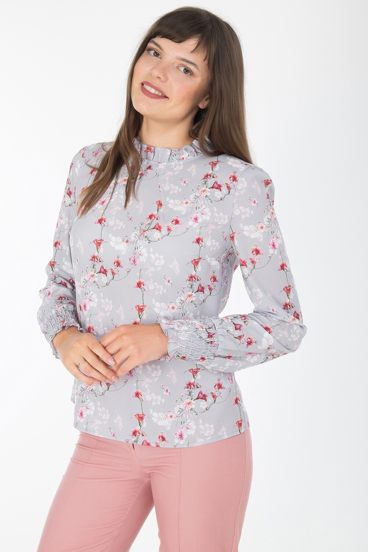 Блузка 1826 креп-шифон серо-малиновый лилии