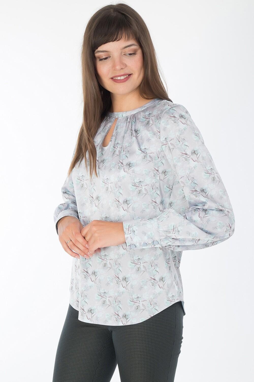 Блузка 1829 шелк-шифон Армани серебр-мятн цветы