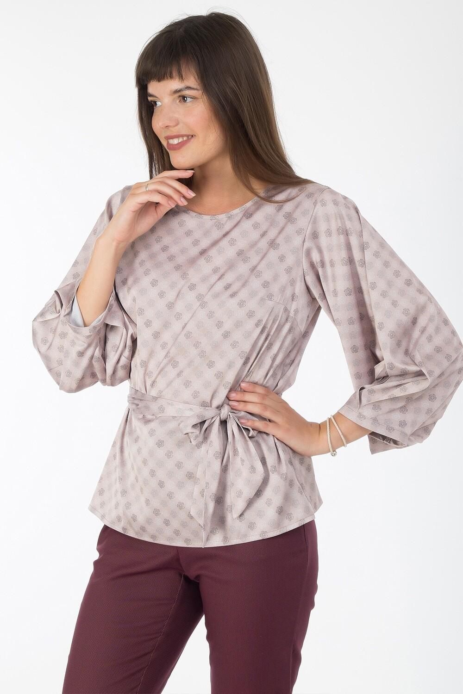 Блузка 1833 шелк-шифон Армани бежево-серый бохо