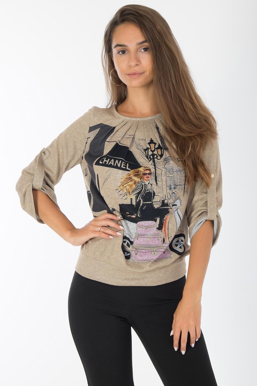Блузка 1832 тр-ж Эльза песочно-черн Шанель
