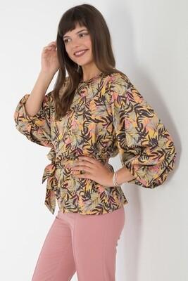 Блузка 1833 шелк-шифон Армани желто-коричн листья