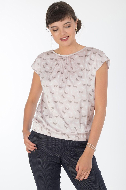 Блузка 1840 шелк-шифон Армани телесно-бел мотылек