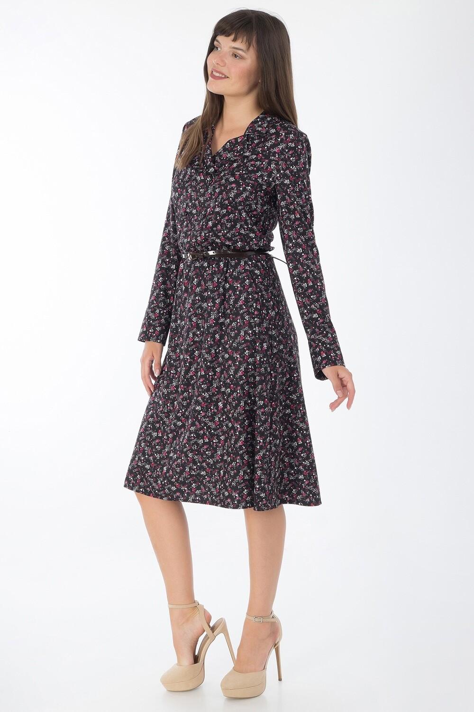 Платье 734 вискоза твил черно-розов Сердечки