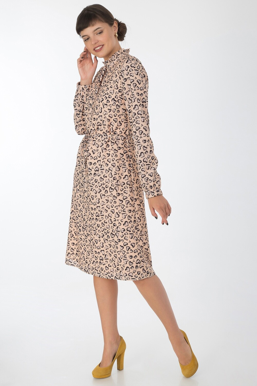 Платье 735 креп-шифон абрикосово-черный сердечки
