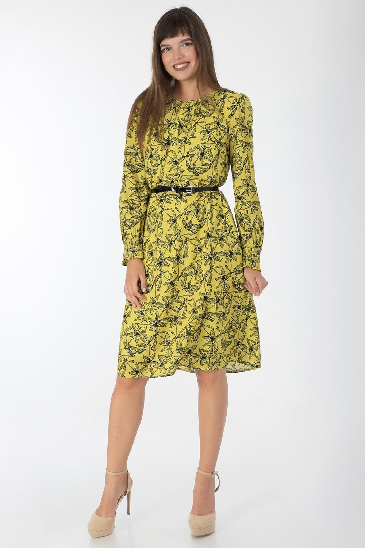 Платье 738 креп-шифон лимонный цветы