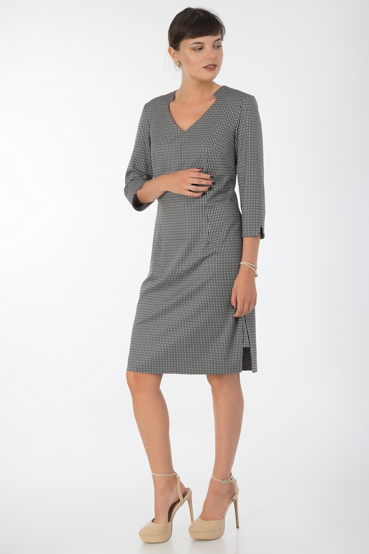 Платье 742 тр-ж черно-беж Вена