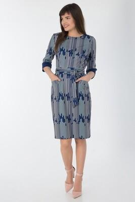 Платье 743 тр-ж темно-синий Матрица