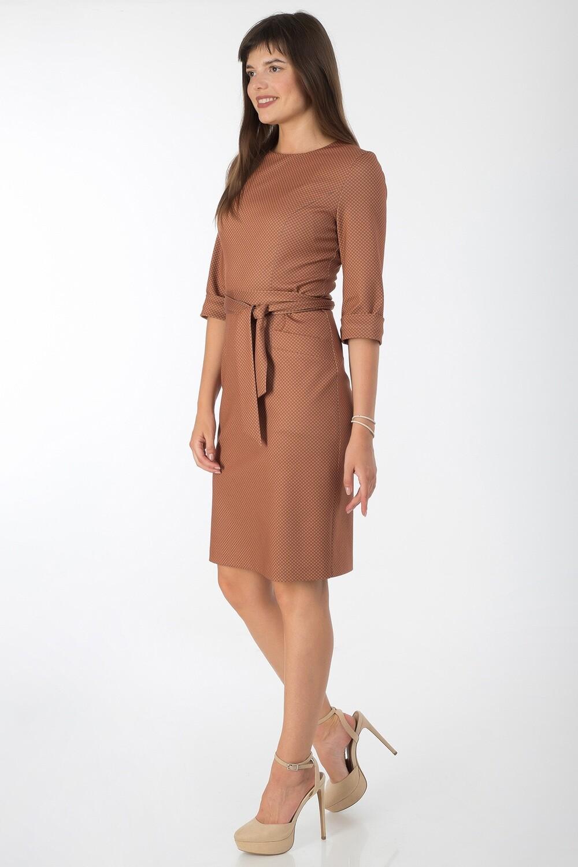 Платье 743 тр-ж оранжево-серый клетка