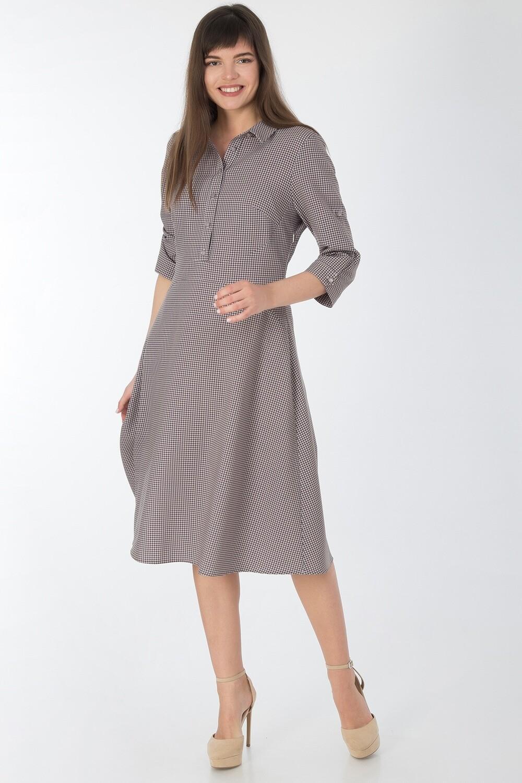 Платье 745 вискоза беж-шоколад Гленчек