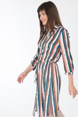 Платье-туника 017 шелк-шифон плательн изумруд-коричн Girl