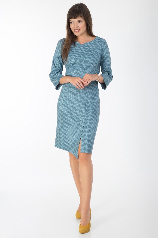 Платье 744 тр-ж сине-зелен Эврика
