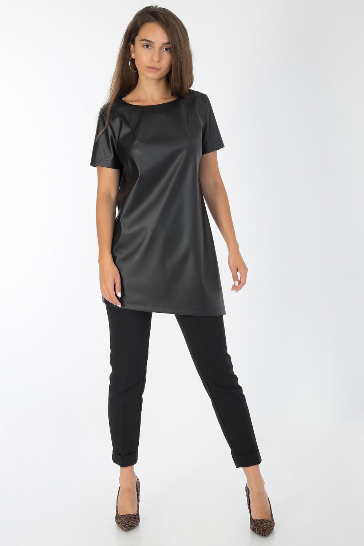 Платье-туника 026 кожа черная