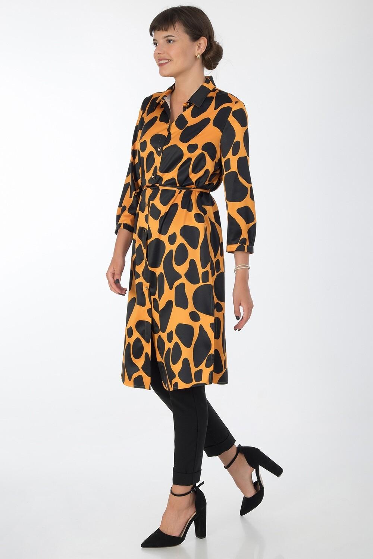 Платье-туника 017 шелк-шифон плательн оранж-черн Техас