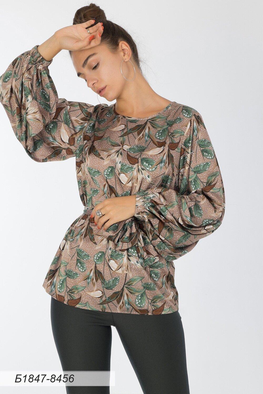 Блузка 1847 шелк-шифон Армани беж-зелен листья