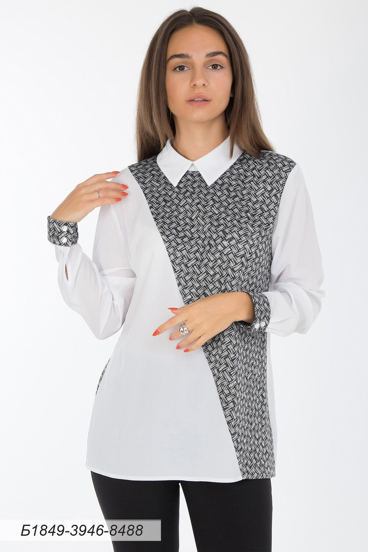 Блузка 1849 креп-шифон молочн/ тр-ж Сандра сер-черн плетение
