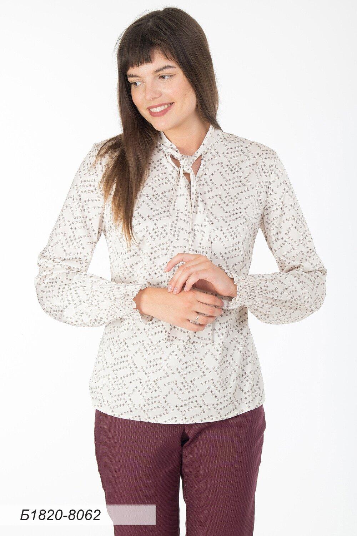 Блузка 1820 шелк-шифон Армани сливочно-коричн Дафна