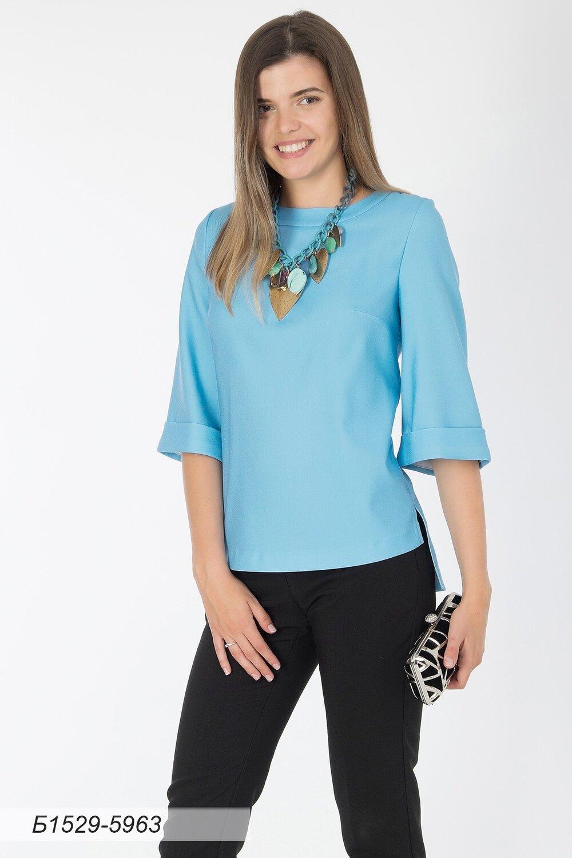 Блузка 1529 креп голубой
