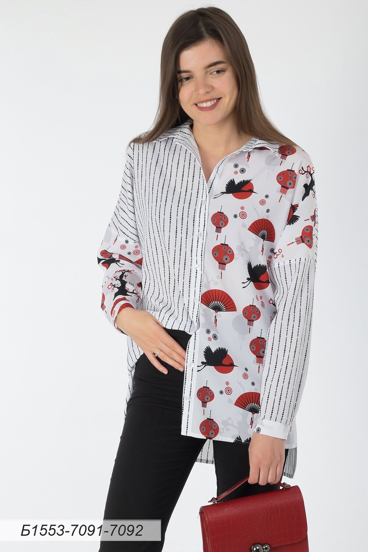 Блузка 1553 креп-шифон бело-черн Аурика/ бело-красн Япония