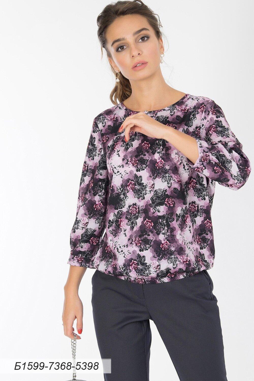 Блузка 1599 креп-шифон лилово-черн Розочки/ кружево черн