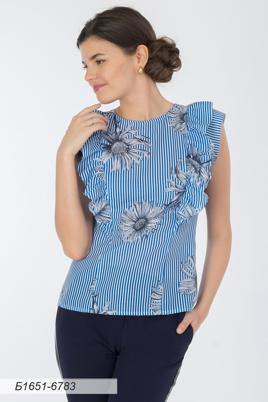 Блузка 1651 вуаль васильковая полоска Цветок