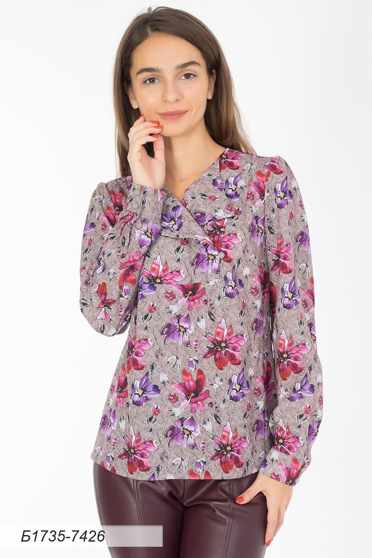 Блузка 1735 креп-шифон беж-лилов Цветы